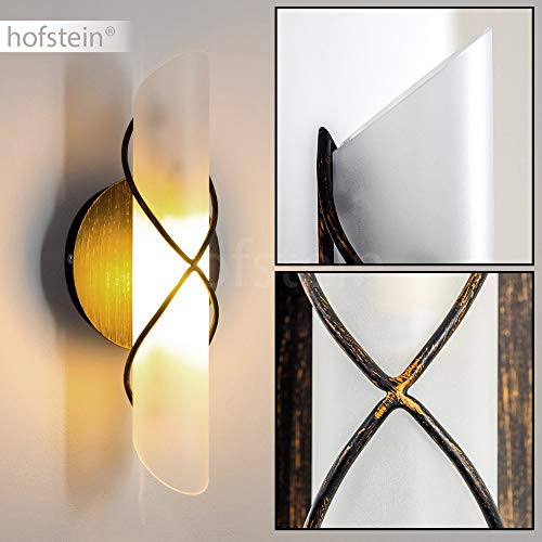 Wandlamp Palma, van metaal/glas in goud/bruin/wit, moderne wandlamp met op en neer effect, 1 x E14 max. 40 Watt, binnenwerklamp met lichteffect en aan/uit schakelaar, geschikt voor LED-lampen