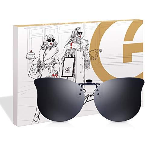 Clip para Gafas para Sol Polarizadas Hombre Mujer- Flip up Clip Lentes de Sol, Gato Retro Gafas de Sol con Clip para Conducir Pesca Deporte al Aire Libre, Protección UV400 (Gris)