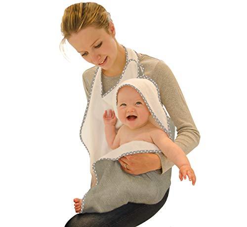 Award Winning Original Cuddledry Hands Free Baby Apron Bamboo Bath Towel (grey star) for safe baby bathtimes and perfect newborn gift