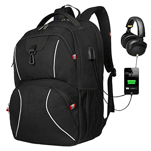 Laptop Backpack, Anti Theft Backpack 17.3 Inch Business Travel Backpack with USB Charging Port Earphone Hole, Durable Water Resistant Work Computer Backpack College/High School Bags
