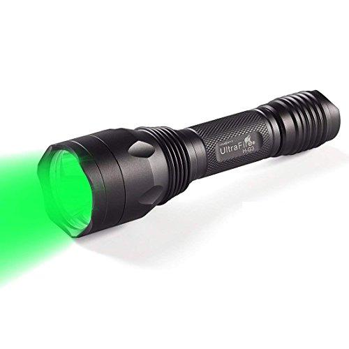 UltraFire Torcia Led Verde,Luce verde H-G3,650 Lumen Professionale Impermeabile Torcia da Caccia,Lunghezza d'onda 520-535 nm,Torcia Tattica Potente