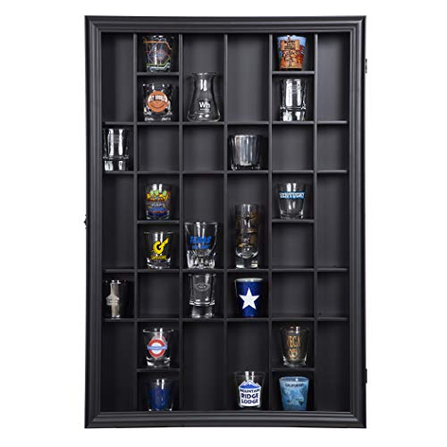 Gallery Solutions 18x26 Display Hinged Front, Black Shot Glass Case OD 17.8875X21.3125