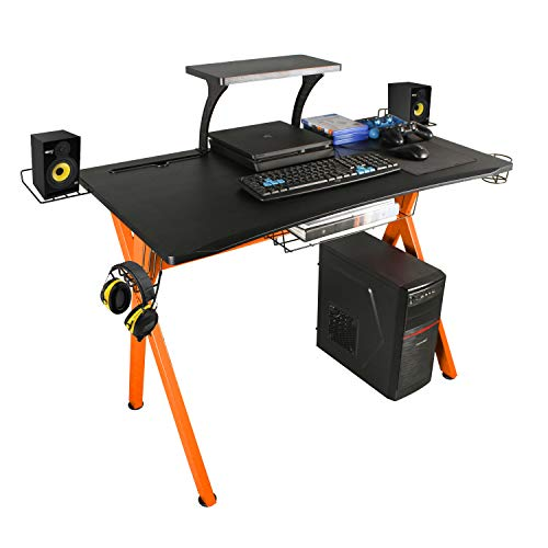 """lazzo 42"""" Gaming Desk,Home Office Desk with Detachable Monitor Stand,Storage Basket,Speaker Holder,Cup Holder,Headphone Hook & Cable Management,Computer Gaming Table, Orange"""