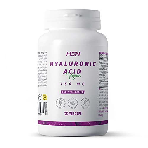 Ácido Hialurónico 150mg de HSN | Sodio Hialuronato | Con 120mg Vitamina C, Anti-Edad, Salud para Piel, Cartílago y Huesos | Vegano, Sin Gluten, Sin Lactosa, 120 Cápsulas Vegetales