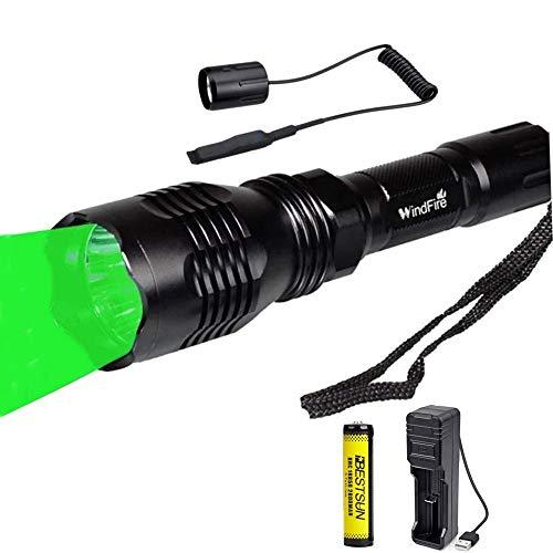 Linterna de caza verde, antorcha LED verde de 1000 lúmenes, linterna táctica de 350 yardas, luz de depredador impermeable, luz de visión nocturna Coyote Hog con interruptor de presión remoto y batería
