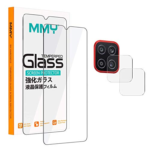 [2+2 Pack] MMY Compatible with Samsung Galaxy A12 Screen Protector + Galaxy A12 Camera Lens Protector Tempered Glass Film HD Clarity 9H Hardness Bubble Free Scratch Resistant - Clear