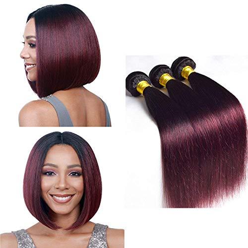 """BIPLE mèche Remy Hair Tissage Bresilien Ombre pas Cher Cheveux 99J Meche 8"""" 8"""" 8"""" Bresilienne Lot 3 Bundles 300g"""