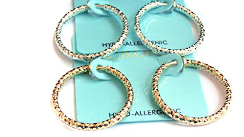 Clip-on Earrings Dia Cut Hoop Gold Or Silver Tone 1 inch Hoops Hypo-Allergenic (gold)