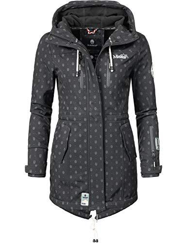 Marikoo Damen Softshell-Jacke Outdoorjacke Zimtzicke Schwarz Dots Gr. XL