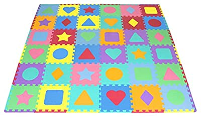 "ProSource Kids Foam Puzzle Floor Play Mat with Shapes & Colors 36 Tiles, 12""x12"" and 24 Borders"