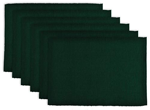 DII 100% Cotton Basic Ribbed Placemat Set, Set of 6, Dark Green 6 Count