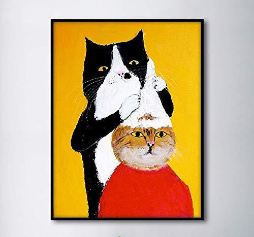 Geiqianjiumai grappige cartoon dier kat kapper Scandinavische stijl kinderen wanddecoratie canvas schilderij poster en afdrukken frameloze schilderijen