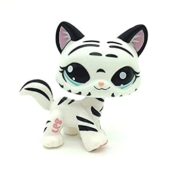 LPS-KB Mini pet Shop Toy Tiger cat Hello Kitty White Stripes with Water Blue Eyes Cute LPS Cartoon pet cat and Dog Toy Mini pet Shop Toy Small pet Shop Toy Gift