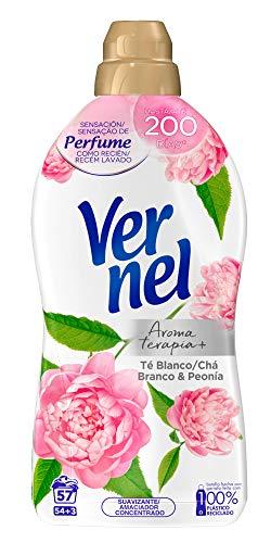Vernel Suavizante Concentrado para la Ropa Aromaterapia Té & Peonia - 54+3 Lavados, 1.140 L