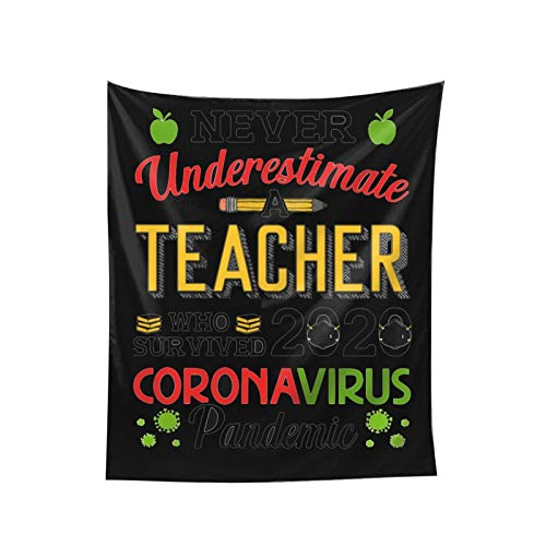 Ecley Never Underestimate Teacher Coronavirus Tapestry Tapestries Wall Hanging Hanging Dorm Decor for Living Room Bedroom (60x51 Inches)