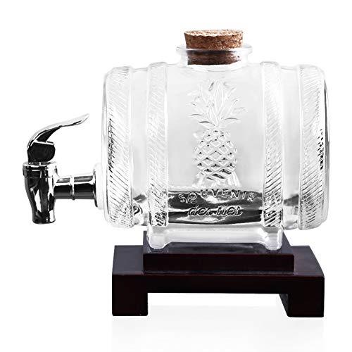 ZKGHJOKZ Whiskey Glazen Wijn Biervat Karaf Met Houten Standaard Drankdispenser Voor Wijn Whisky Brandewijn Scotch Rum Home Hotel Bar Display Vat