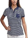 JAN 8029 Damen Bio Baumwolle Streifen Polo Shirt XS-2XL Farbe Blue Navy, Größe L