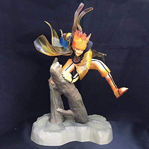 BIOAOUA Figurines en PVC Statue Décoration De Bureau Anime Personnages Figurines Souffle Whirlpool Bois Goku Neuf Queues Modèle Branche Scène Modèle en Boîte 25 Cm