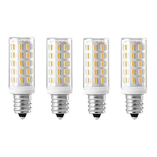 Gmasuber Bombillas LED E12 de 5 W, luz blanca cálida, 3000 K, E12, base de candelabro, lámpara de techo, iluminación decorativa interior, 54 LED 4014 SMD, no regulable, 4 unidades