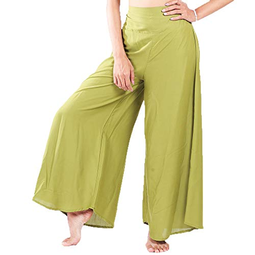 LOFBAZ Women's Wide Leg Palazzo Pants Yoga Lounge Hippie Harem Flowy Trousers Juniors Girls Printed Spring Travel Swimsuit Cover Up Beachwear Slacks - Green #28 - M