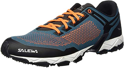 Salewa MS Lite Train Knitted, Zapatillas para carrera de senderos Hombre, Azul (Malta/Fluo Orange), 44.5 EU