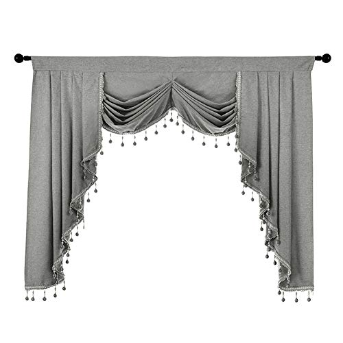 NAPEARL Premium Waterfall Valance for Curtains, Curtains Valances and Swags for Living Room, Thick Kitchen Window Valance with Custom Beads ( 1 Grey Valance, 61-Inch Wide )