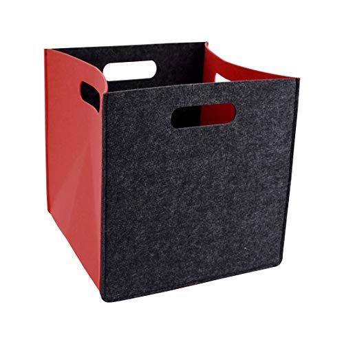Liuzhou - Cesta de almacenaje con asa plegable para guardar juguetes, cosméticos, ropa abierta, color gris oscuro y rojo