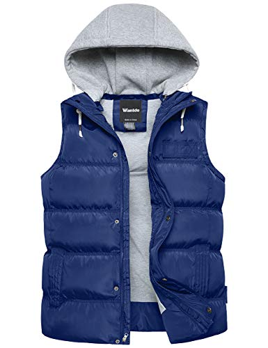 Wantdo Mens Insulated Winter Puffer Vest Warm Sleeveless Jacket Gilet Blue Small