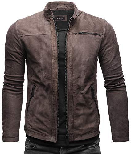 Crone Epic Herren Lederjacke Cleane Leichte Basic Jacke aus weichem Rindsleder (S, Togo (Nubukleder))
