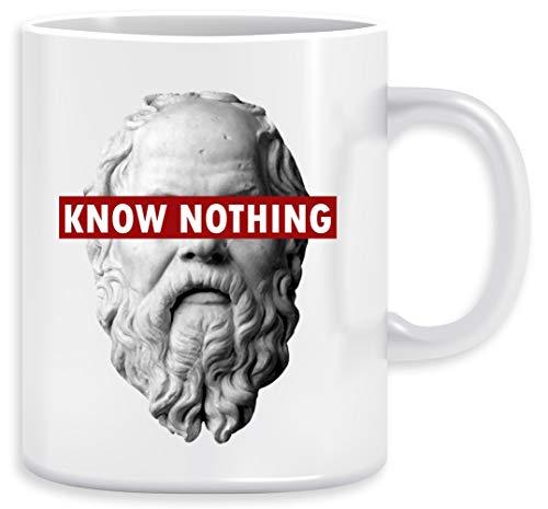 Know Nothing Socrates Humor Funny Slogan Philosophy Censored Kaffeebecher Becher Tassen Ceramic Mug Cup