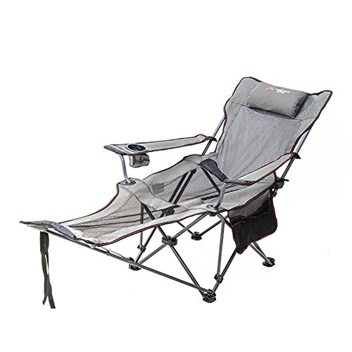 HM&DX Sillas Plegables para Exteriores Silla de Camping reclinable Reposapiés Respaldo Ajustable Sostenedor de Taza Plegable reclinable Silla de Playa Excursión a jardín de Playa-Gris