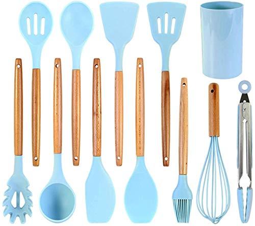 Blue Silicone Kitchen Utensils Set Heat Resistant Nonstick Baking Cooking Tools Kitchenware Accessories