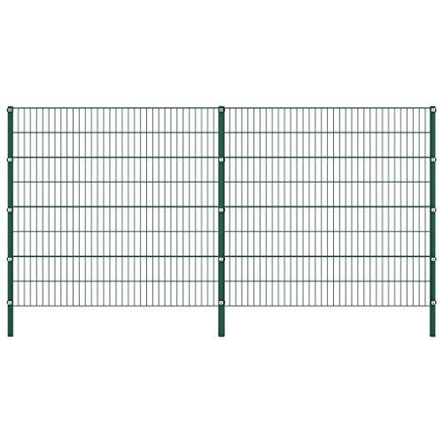vidaXL Doppelstabmattenzaun Gartenzaun Doppelstab Zaun Set Gittermatten Gitterzaun Metallzaun Zaunfeld mit Pfosten Eisen 3,4x1,6m Grün