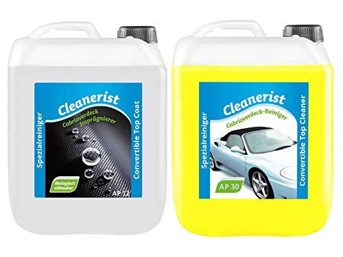Die Seifenblase 5+5 Liter Cabrioverdeck Imprägnierung AP12 Versiegelung Reinigung AP30 Pflege Set Cabriodach für Verdecke aus Stoff, Leder, Kunstleder und Kunststoff