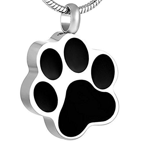 Amody Acero Inoxidable Mascota de la Pata Animal Collar conmemorativo de la urna del Recuerdo del Recuerdo de la joyera Black(No Engraving)