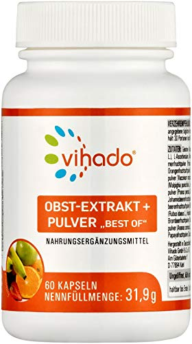 Vihado Obst Extrakt - Best of Fruits mit Pflaume, Cranberry, Apfel, Dattel, Bormbeere, Ananas u.v.m. - Obst-Extrakte voller Vitamine - Acerola reich an Vitamin C - 60 Kapseln