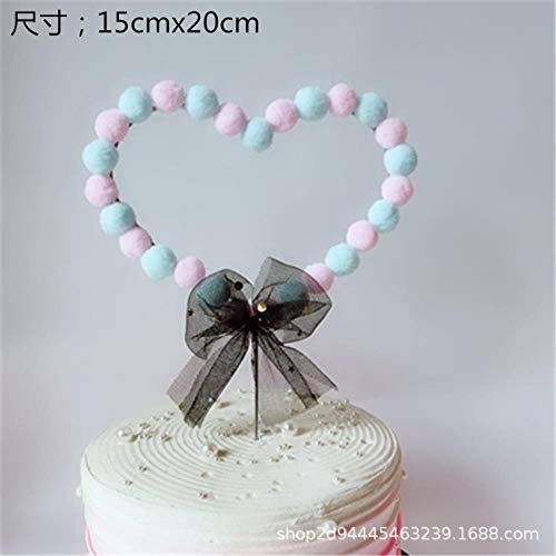 HPPL haar bal taart decoratie liefde hart maan ronde jurk verjaardag taart kaart dessert tafel lay-out vlag