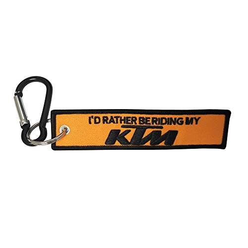 Pasdec 1pc Tag Keychain Stitching Design for KTM Motorcycles Biker Keychain Accessories Gifts + Black Color Light Aluminum D Shape Carabiner Clip Spring Snap Key Chain Clip Hook Screw Gate Buckle