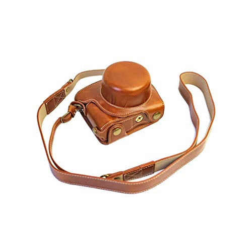 Qiulip Anti-Scratch PU Lederen Camera Bag Beschermende Cover Case met Schouderband Voor Nikon 1 J5 Camera 10-30mm Lens Accessoires, 12x8x6cm/4.7x3.1x2.3in, BRON