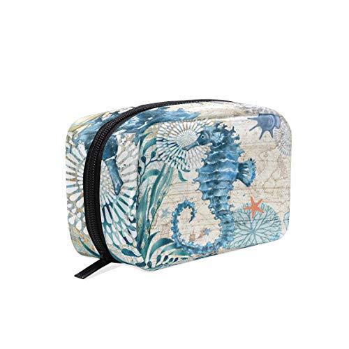 Trousse de Toilette rétro Motif Hippocampe Nautique Bleu
