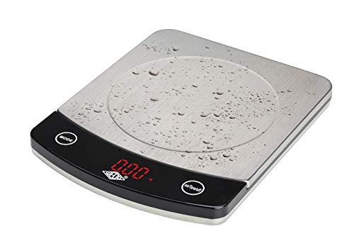 WEDO 48110054 Waage Profi-Steel (10kg), Teilung 1g/2g mit Tarafunktion, batteriebetrieben, 3 Jahre Garantie, rostfreier Edelstahl, silber/schwarz