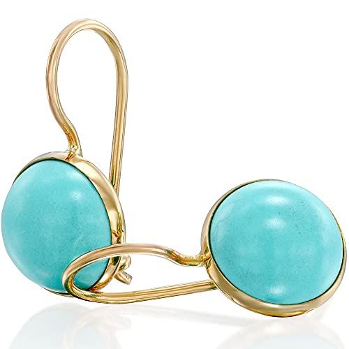 14K Gold Turquoise Earrings, 14K Solid Yellow Gold, Dainty Dangle Drop Earrings, December...