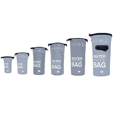 DonDon wasserdichter Beutel Sack Trockentasche mit Riemen Schutz vor Wasser Trockenbeutel für Ihre Wertsachen und Gegenstände grau 2 Liter