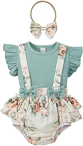 Loalirando Juego de 3 piezas de vestido de verano para bebé con vestido de niña + camisa de manga corta + peto con estampado de flores, Verde, 6- 12 meses