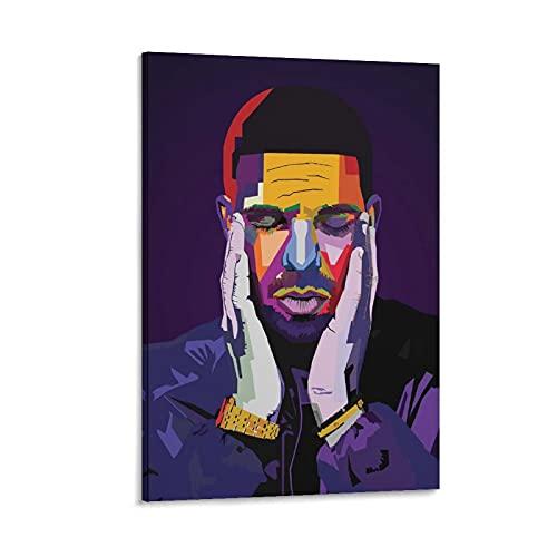 Poster su tela con immagine di jiandan Drake Rapper Wpap Rap Rock Hip Hop DJ Poster Aubrey Drake Graham Stampa artistica su tela con immagine di famiglia moderna, 50 x 75 cm