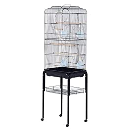 Pawhut Large Metal Bird Cage with Breeding Stand Feeding Tray Wheels for Parrot Parakeet Macaw Pet Supply, Black, 47.5 L x 37 W x 160 H (cm)