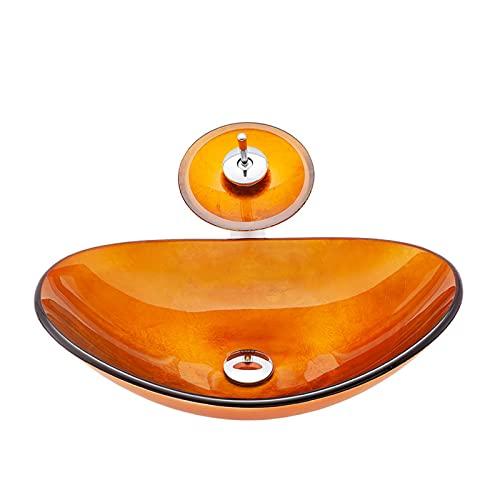WXDL Lavabo sobre Encimera Cristal Templado Oval Lavamanos de Baño Vidrio Templado...