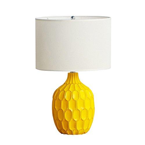 wshfor Nachttischlampe für Schlafzimmer für Wohnzimmer, kreative Harz Tischlampe moderne nordische Stil Schreibtisch Lampe E27 Schnittstelle gelb, Tuch Lampenschirm