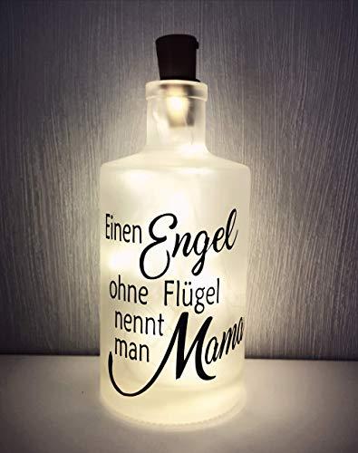 AScreativ Dekoflasche mit Beleuchtung Muttertag * Flaschenlicht * Bottlelight - Engel Mama Spruch Flasche Mother Day Geburtstagsgeschenk