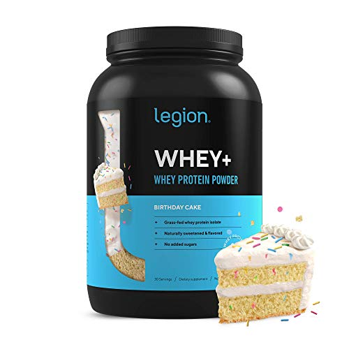 Legion Whey+ Whey Isolate Protein Powder from Grass Fed Cows - Low Carb, Low Calorie, Non-GMO, Lactose Free, Gluten Free, Sugar Free. Great for Weight Loss & Bodybuilding, (30 SVG, Birthday Cake)